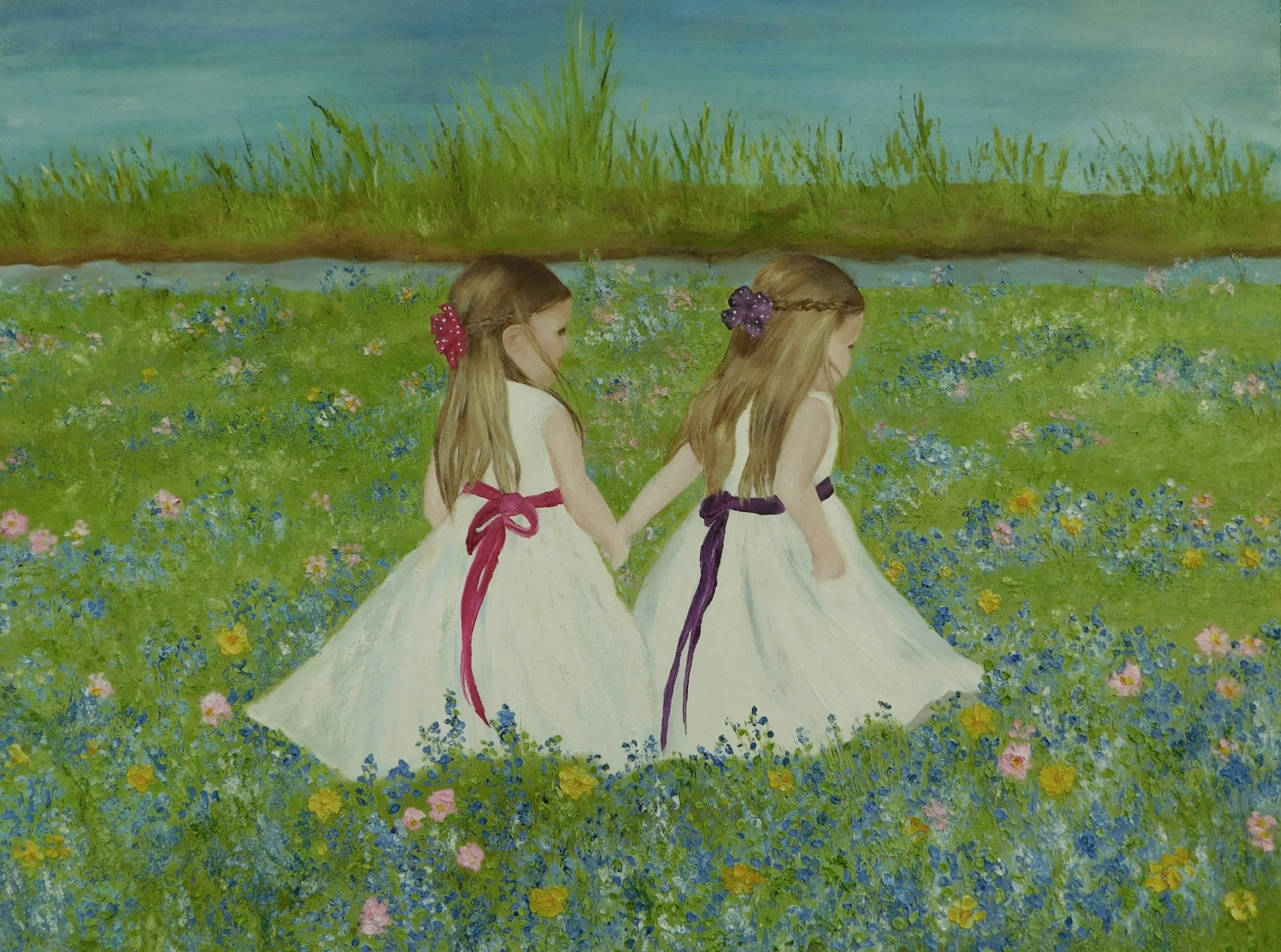 Girls On The Beach Oil Painting Childrens Oil Painting