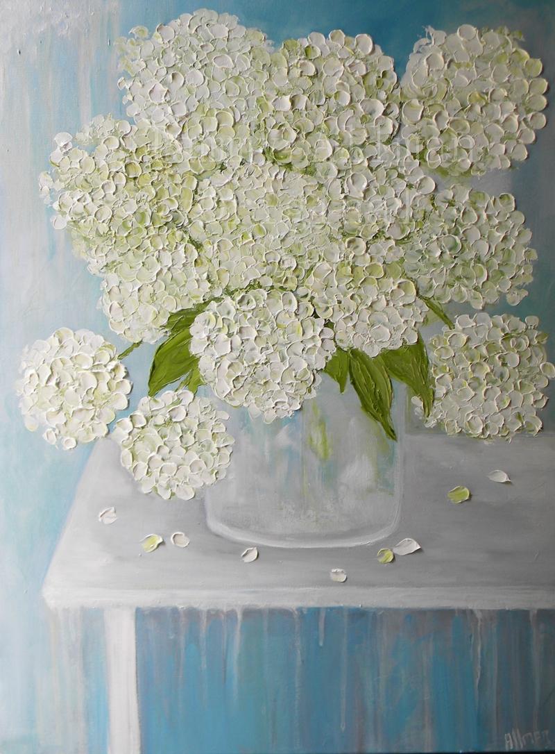 white hydrangea oil painting - White Hydrangea