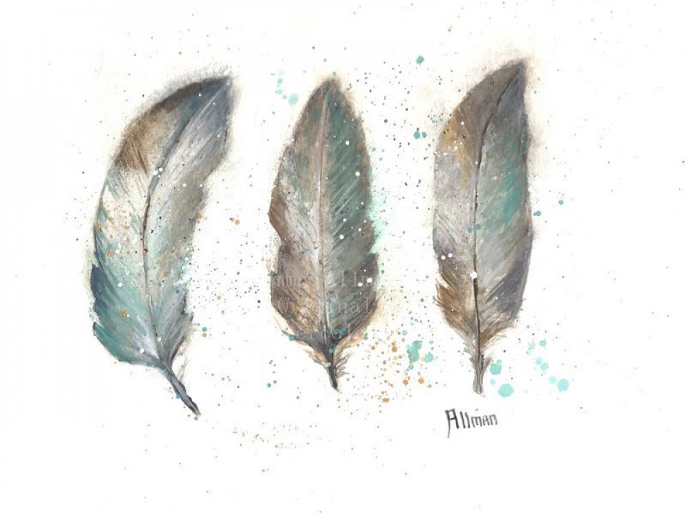 Original Watercolor Print Watercolor Feather Painting