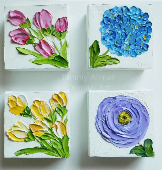 group of small impasto paintings