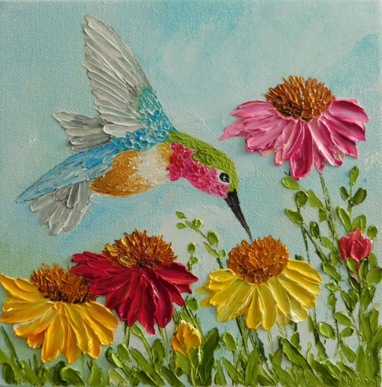 Hummingbird and Cone Flower Oil impasto Painting