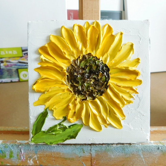 sunflower painting on easel