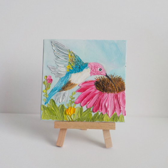 hummingbird and cone flower miniature painting