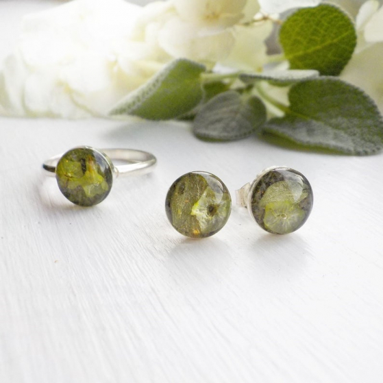 dried herb earrings and ring