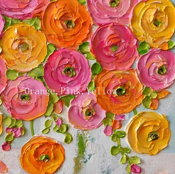 orange,pink and yellow ranunculus