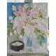 Pink Lilac and Pink Tulip Oil Impasto Painting on Easel