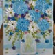 Blue hydrangea painting on Easel