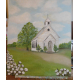 church and cotton field oil landscape painting