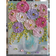 Pastel Zinnia Oil Impasto Painting on Easel