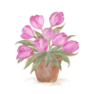 Tulips in a Clay Pot Watercolor