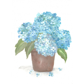 Aqua Blue Hydrangea Watercolor