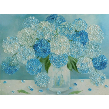 Blue Hydrangea Oil Impasto Painting