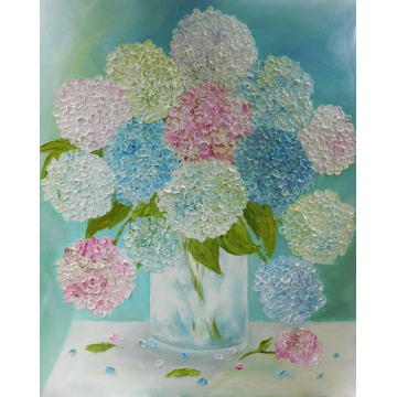Mixed Hydrangea Oil Impasto Painting