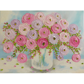 Lavender and Pink Ranunculus Impasto Painting