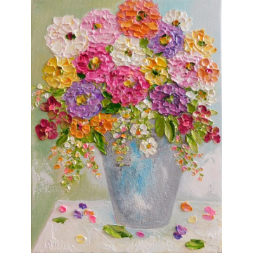Oil Impasto Bright Zinnia Paintings