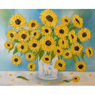 Sunflowers in a Vase Oil Impasto Painting