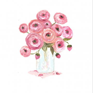 pink and apricot ranunculus watercolor painting