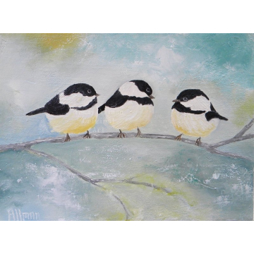 Three Chickadees on a Branch Oil Impasto Painting