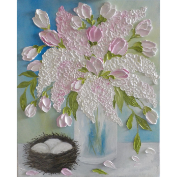 Pink Lilac and Pink Tulip Oil Impasto Painting