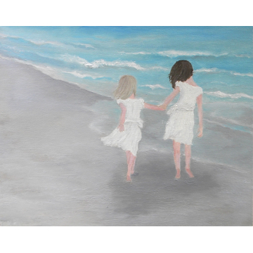Girls on the Beach, Oil Painting