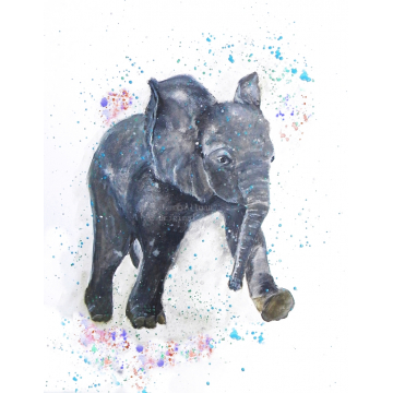baby elephant watercolor,elephant watercolor