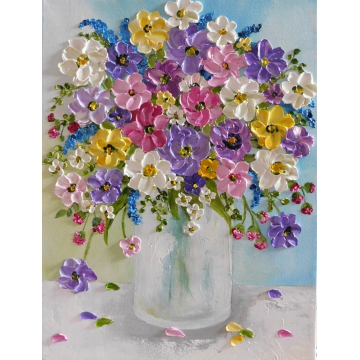 wildflower oil impasto painting