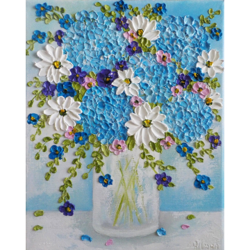 Blue Hydrangea and Daisy Oil Impasto Painting