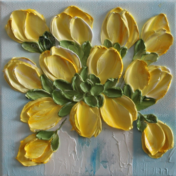 Yellow Tulip Oil Impasto Painting