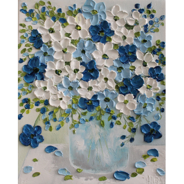 navy, light blue and white anemone oil impasto painting