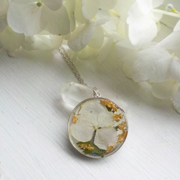 White hydrangea and gold sterling silver dried flower necklace
