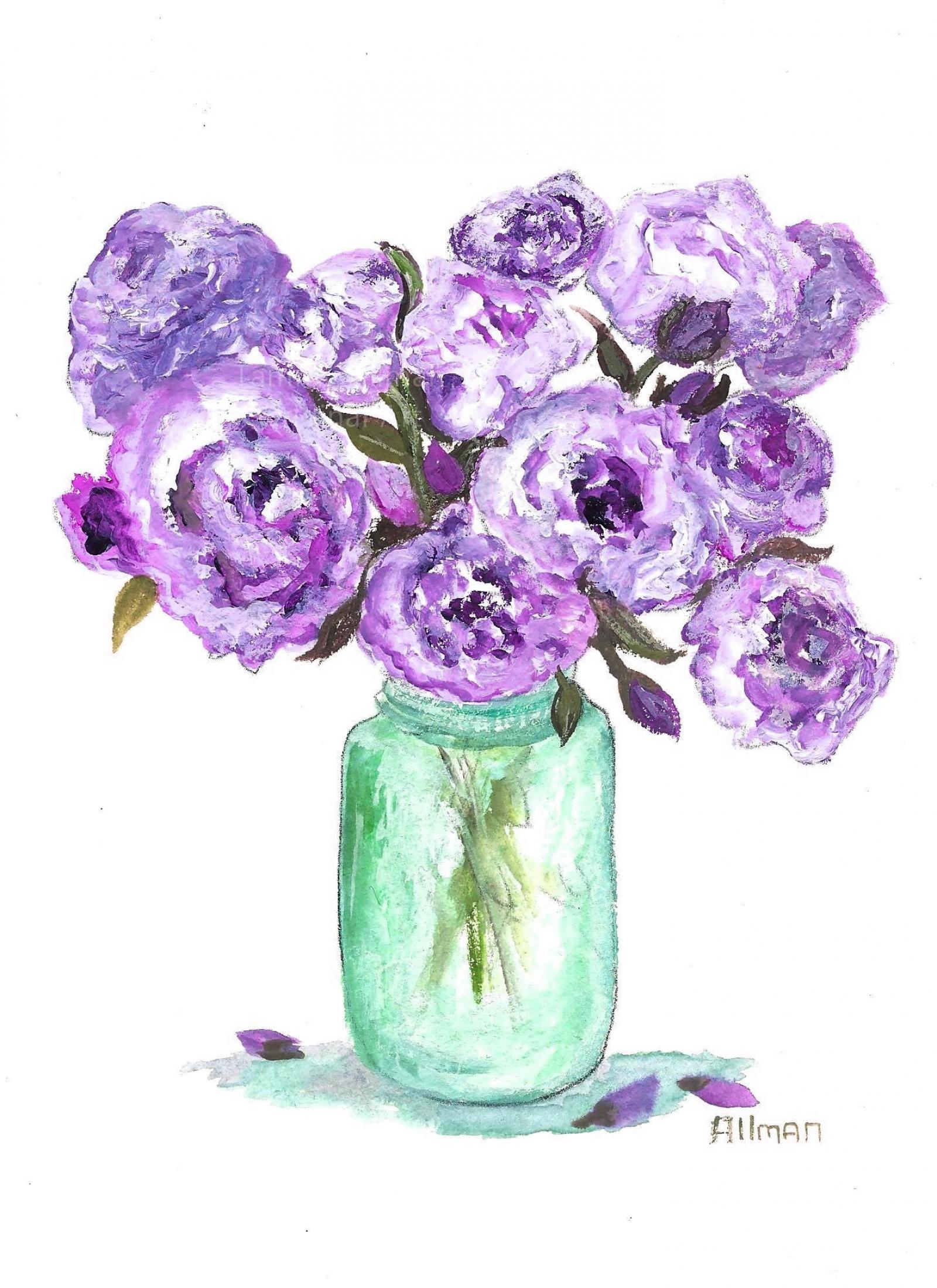 Original Peony Watercolor Floral Vase Series Lavender