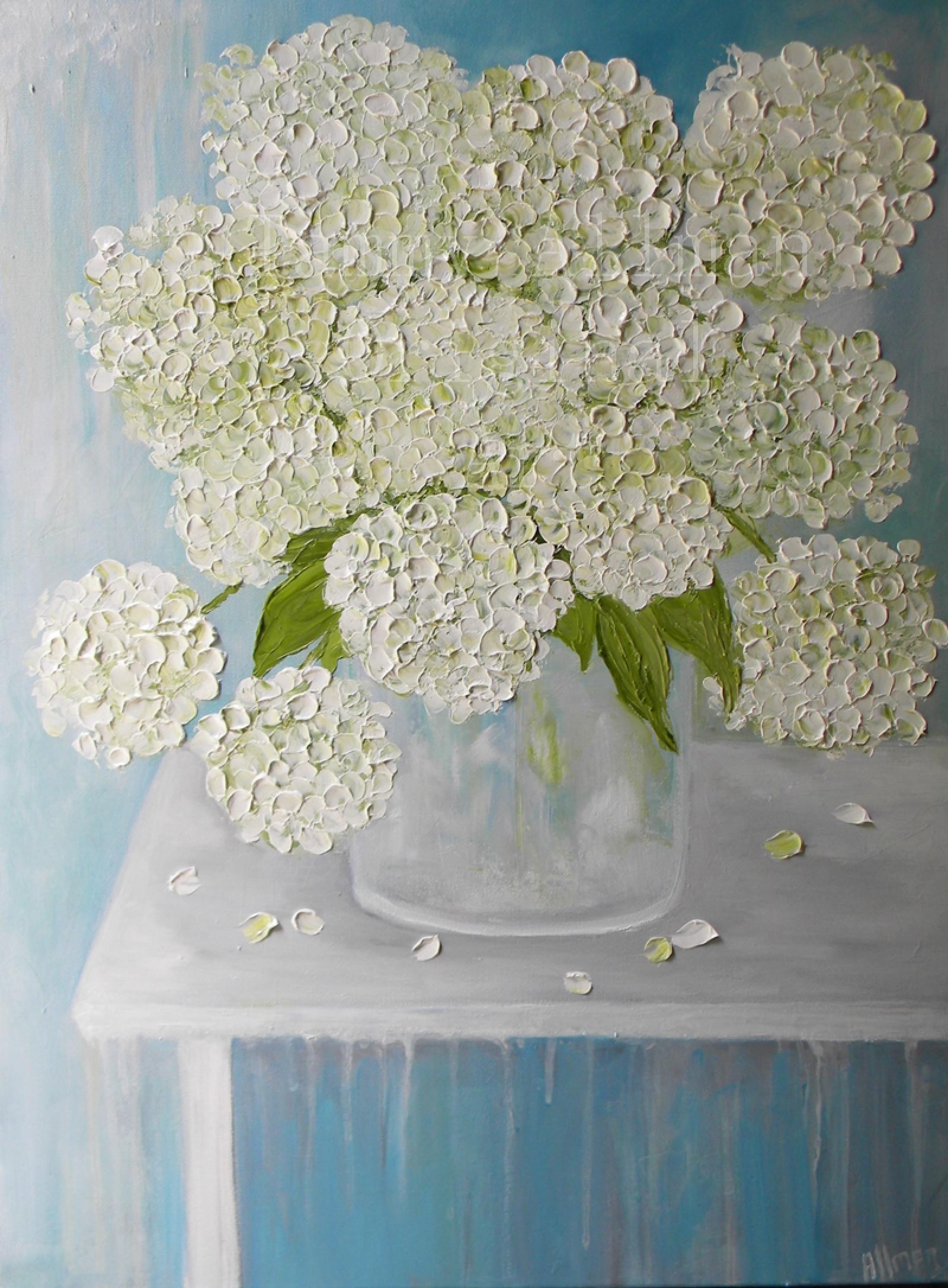 White hydrangea oil paintingimpasto painting