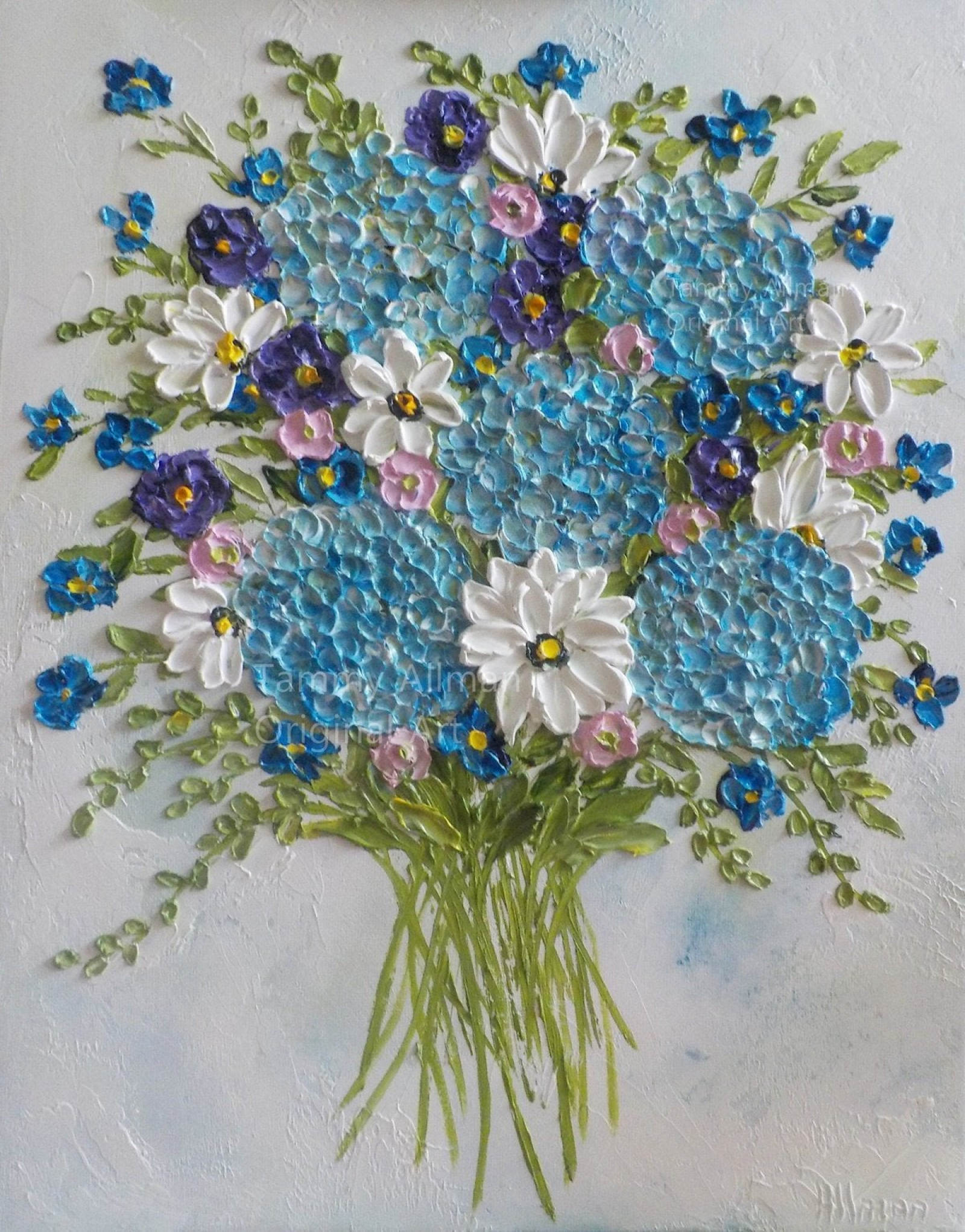 Whimsical Airy Bouquet Of Hydrangeas And Wildflowers Oil Impasto Painting Custom Oil Impasto Painting Kenzie S Cottage