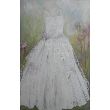 On Sale, LARGE OIL PAINTING,Vintage in White Dress Painting, Impasto Dress Painting, Girls Room, Powder Room