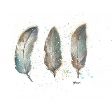 Original Watercolor Print, Watercolor Feather Painting, Feather Series Three Feathers, Turkey Feathers