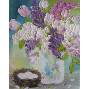 Spring Lilacs and Tulips Oil Painting, Impasto Oil Painting, Lilac Oil Painting
