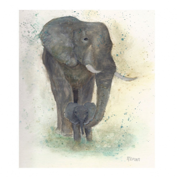 """Watercolor Archival Original Painting Print, Baby Elephant with Mother, """"I'll Keep You Safe"""" , Elephant Watercolor,Children's Art"""