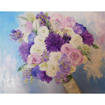 Bridal Bouquet Oil Impasto Painting, Custom Original Painting, Brides Painting