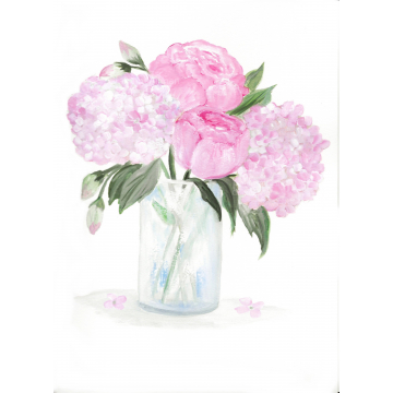 Original Watercolor Pink Hydrangea and Peony, Original Watercolor Print