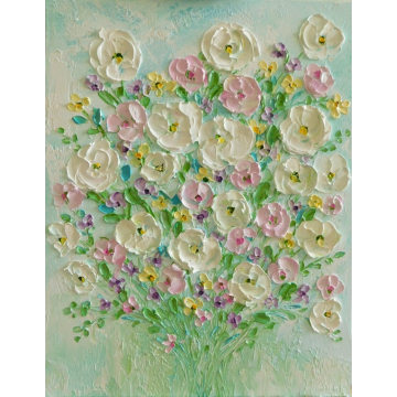 Whimsical Pastel Flowers Oil Impasto, Whimsical impressionistic Oil Impasto Painting
