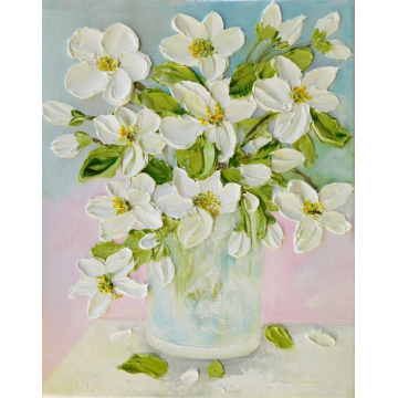 White Lilies in a Vase Oil Impasto Original Painting, White Lilly Still Life  Painting