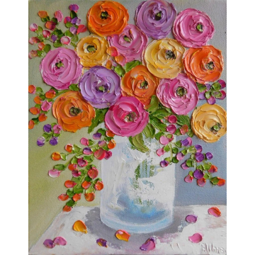 Summer Brights Mixed Ranunculus Oil Impasto Painting, Orange, Yellows,Lavenders and Pink Ranunculus