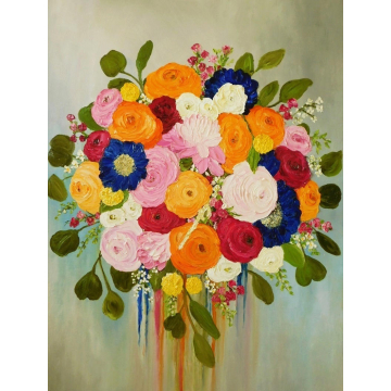 Whimsical Bridal Bouquet Oil Impasto Painting, Custom Bouquet Painting, Your Favorite Flowers