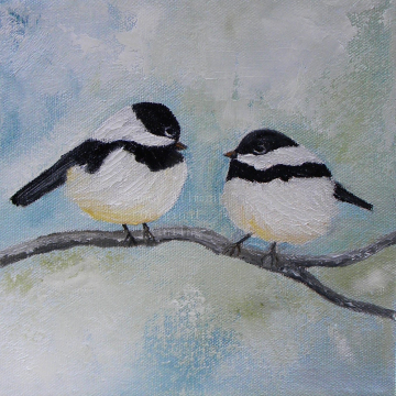 Chickadee Birds on a Branch Painting,  Custom Two Birds On A Branch Impasto Painting