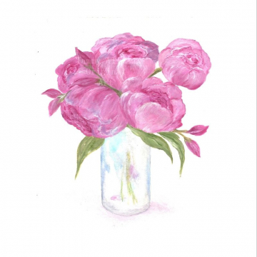 Original Peony Watercolor, Floral Vase Series, Pink Peony Original Watercolor Print, Watercolor, Pink Peony Painting,