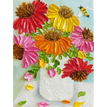 Custom Cone Flowers and Bee Impasto Painting, Bee and Cone Flower Oil Painting