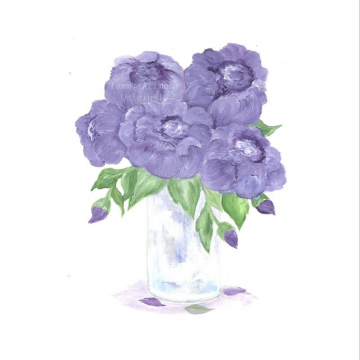 Original Peony Watercolor, Floral Vase Series, Purple Peony Original Watercolor Print, Watercolor, Purple Peony Painting,