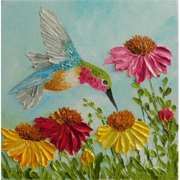 Custom Cone Flowers and Hummingbird Impasto Painting, Hummingbird Oil Painting Cone Flower Painting