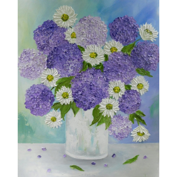 Custom White Daisy and Hydrangea Oil Impasto Original Painting, White Daisy and Hydrangea Still Life  Painting