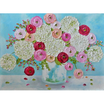 Custom White Hydrangea and Mixed Ranunculus Oil Painting,Red, Pink and Apricot Ranunculus, Choose Size